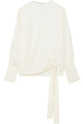 STELLA McCARTNEY Knotted striped silk-jacquard blouse