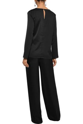 IRIS & INK Camila tie-front hammered-satin blouse
