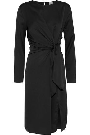 IRIS & INK Lily tie-front hammered-satin dress
