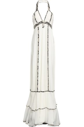 DIANE VON FURSTENBERG Faux leather-trimmed silk-georgette maxi dress