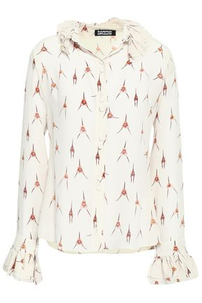 ROCKINS Ruffle-trimmed printed silk crepe de chine shirt
