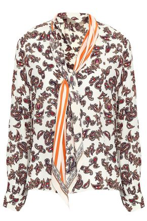 ROCKINS Printed pussy-bow silk crepe de chine shirt