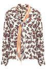 ROCKINS Printed pussy-bow silk crepe de chine shirt