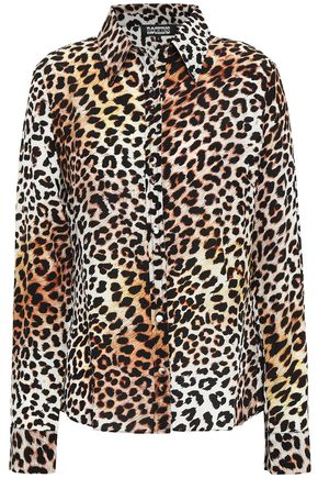 ROCKINS Leopard-print silk crepe de chine shirt