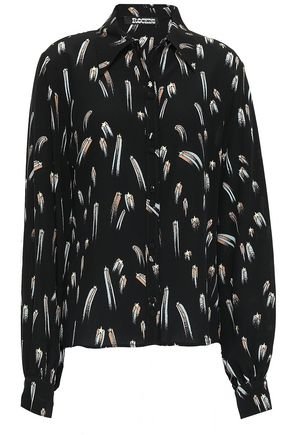 ROCKINS Printed silk crepe de chine shirt