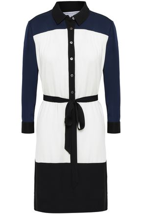 DIANE VON FURSTENBERG Belted two-tone stretch-silk shirt dress