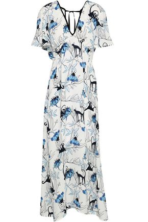 MARKUS LUPFER Lace-up printed crepe midi dress
