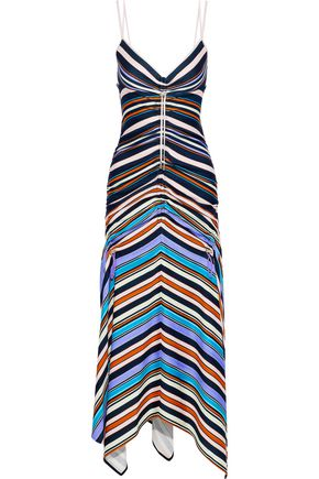 PETER PILOTTO Ruched striped stretch-jersey midi dress