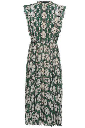 MARKUS LUPFER Pleated printed georgette midi dress