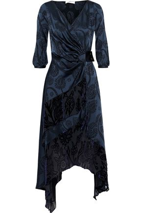 PETER PILOTTO Devoré organza-paneled satin-jacquard midi wrap dress