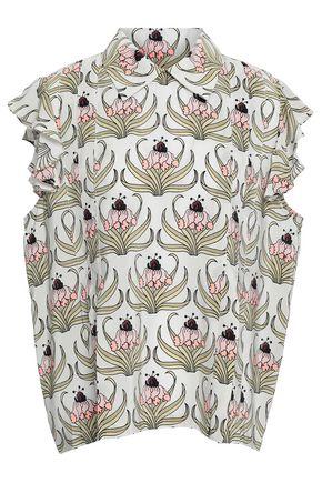 MARKUS LUPFER Ruffle-trimmed floral-print silk crepe de chine shirt