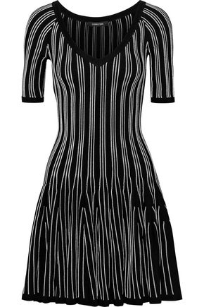 CUSHNIE ET OCHS Fluted striped stretch-knit mini dress