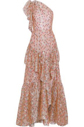ANCIENT GREEK SANDALS x PETER PILOTTO One-shoulder ruffled fil coupé silk-blend organza gown