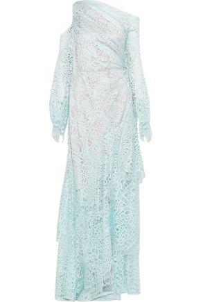 ANCIENT GREEK SANDALS x PETER PILOTTO Cold-shoulder asymmetric lace gown