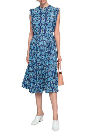 MARKUS LUPFER Ruffle-trimmed floral-print georgette mid dress