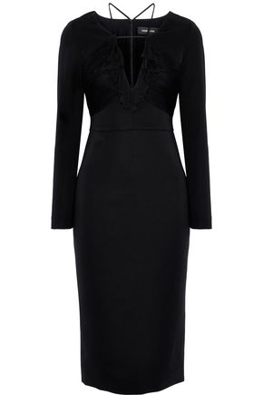 CUSHNIE Ruffle-trimmed crepe dress