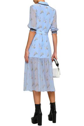 MARKUS LUPFER Diver Micki belted printed georgette-paneled silk midi dress