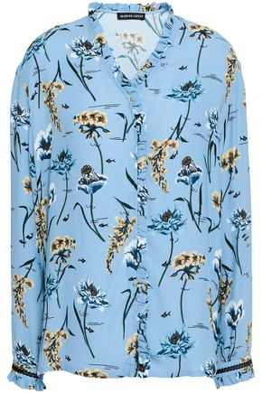 MARKUS LUPFER Ruffle-trimmed floral-print crepe blouse