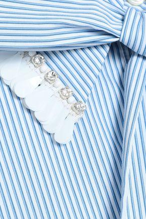 MARKUS LUPFER Embellished striped cotton shirt