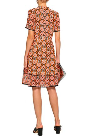 MARKUS LUPFER Pussy-bow floral-print silk crepe de chine and georgette dress