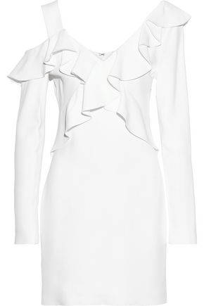 CUSHNIE ET OCHS Cold-shoulder ruffle-trimmed cady mini dress