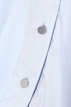 CUSHNIE One-shoulder button-detailed cotton-blend poplin top