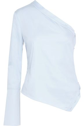 CUSHNIE One-shoulder button-detailed cotton-blend poplin top