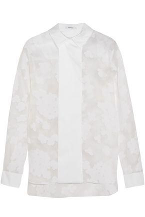 CARVEN Poplin-paneled flocked cotton-organza shirt
