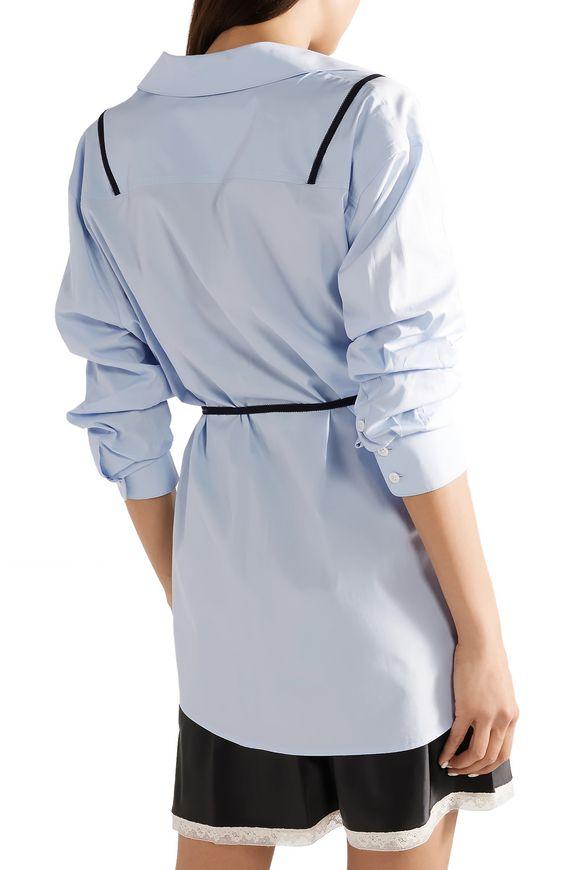 bbedee04e04 Layered lace-trimmed satin and cotton-poplin mini dress