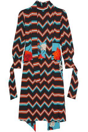 MSGM Printed pussy-bow crepe midi dress