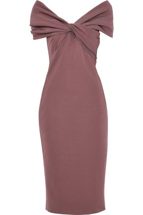 CUSHNIE Twist-front stretch-cady dress