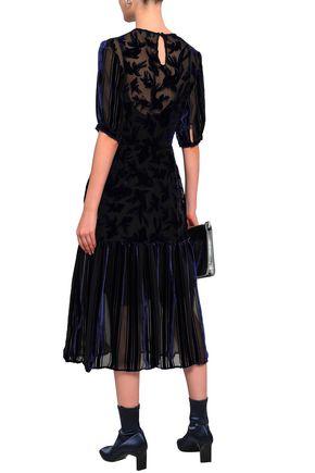 MARKUS LUPFER Devoré-velvet pleated midi dress