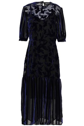 MARKUS LUPFER Devoré-velvet pleated midi dress