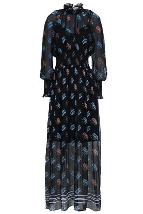 MARKUS LUPFER Shirred floral-print silk-georgette maxi dress