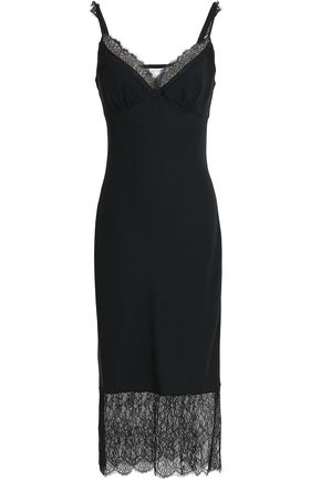 DIANE VON FURSTENBERG Lace-paneled silk-crepe dress