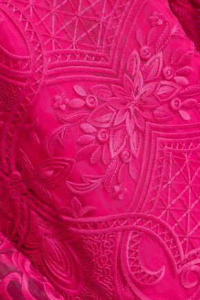 PERSEVERANCE Velvet-trimmed embroidered organza mini dress