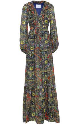 PERSEVERANCE Pleated printed silk-blend maxi dress
