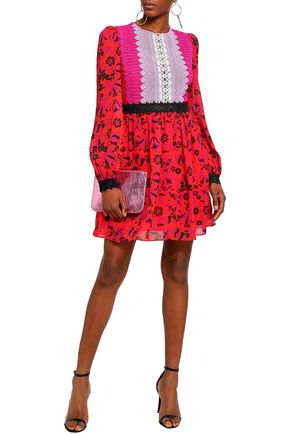 PERSEVERANCE Guipure lace-paneled floral-print georgette mini dress