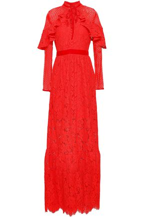 PERSEVERANCE Paneled velvet-trimmed guipure lace midi dress