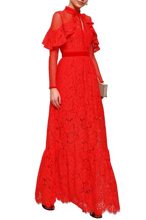 PERSEVERANCE Point d'esprit-paneled corded lace gown