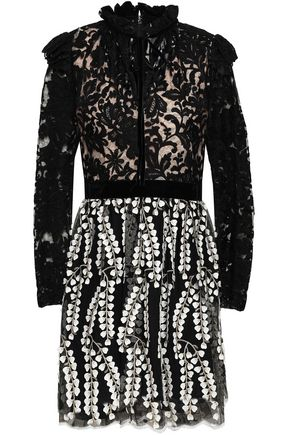 PERSEVERANCE Embroidered lace and organza mini dress