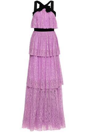 PERSEVERANCE Velvet-trimmed tiered lace maxi dress