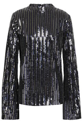 PERSEVERANCE Open-back velvet-trimmed sequined woven top