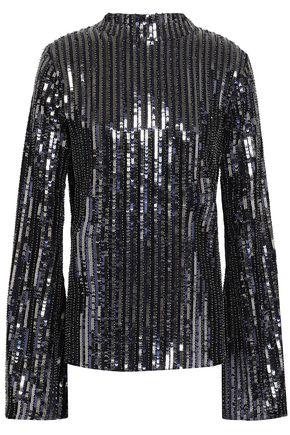 PERSEVERANCE Open-back velvet-trimmed sequined woven top