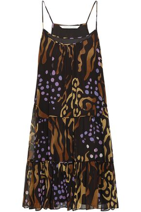 DIANE VON FURSTENBERG Tiered printed silk-georgette mini dress