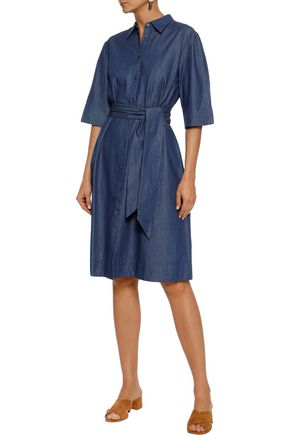 IRIS & INK Rosie belted cotton-chambray shirt dress