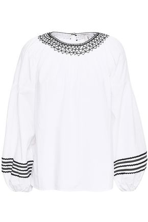 JOIE Ghada embroidered cotton-poplin top
