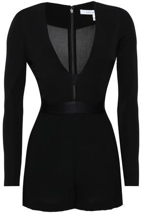 DIANE VON FURSTENBERG | Diane Von Furstenberg Woman Satin-trimmed Cutout Stretch-jersey Playsuit Black | Goxip