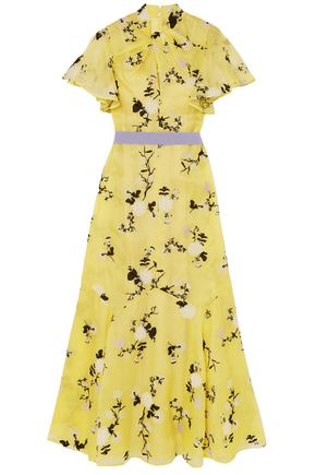 ERDEM Belted embroidered silk-organza maxi dress