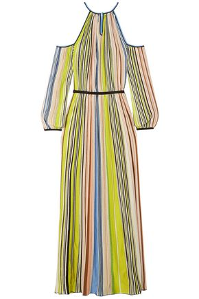MISSONI Cold-shoulder striped crocheted maxi dress